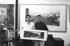 优乐娱乐官网照片与杨利伟在画室