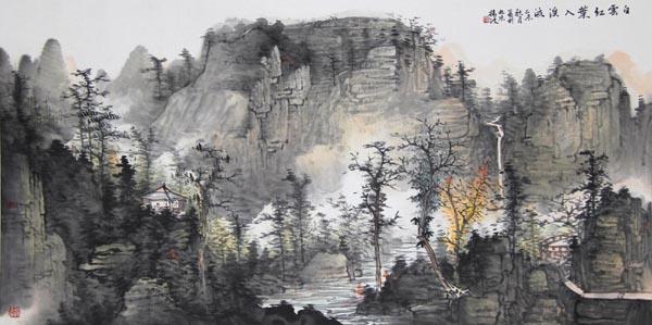 白云红叶入溪流.jpg