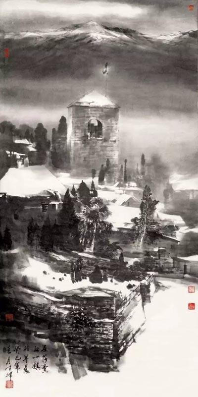 《圣-莎菲汉小镇的早晨》(瑞士)水墨纸本 140cmx70cm(2011年)中国美术世界行参展作品.jpg