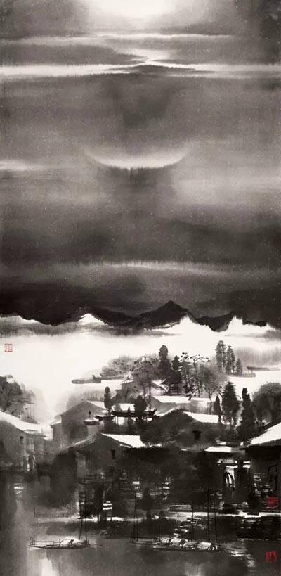 《皖南冬夜迷境时》 140cmx70cm.jpg