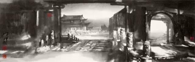《太庙余辉》 70cmx23cm 水墨纸本 2010年.jpg