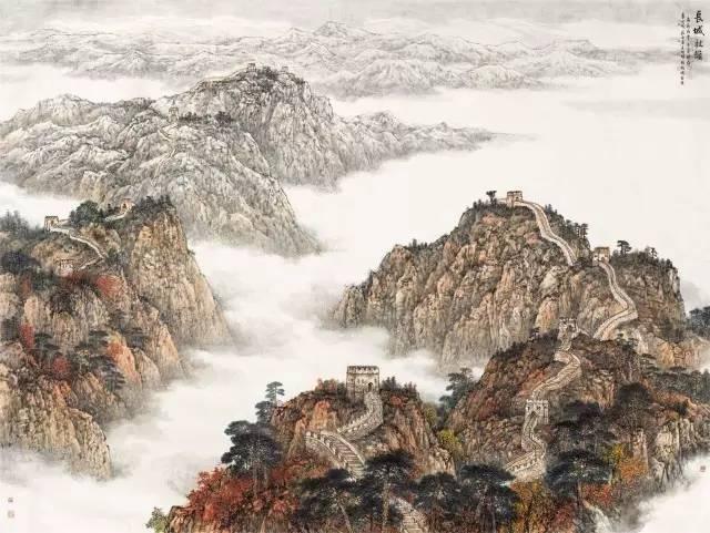 长城秋韵  王明明 李小可 庄小雷 徐卫国(北京) 473 cm × 670 cm 中国画.jpg