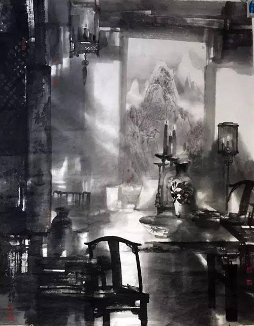 堂前故影 160cmx200cm 2016年参加第四届杭州中国画双年展.jpg