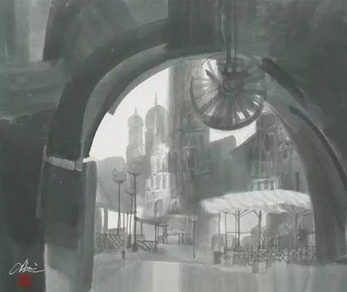 拱门前的广场    47cmx60cm    2003年.jpg
