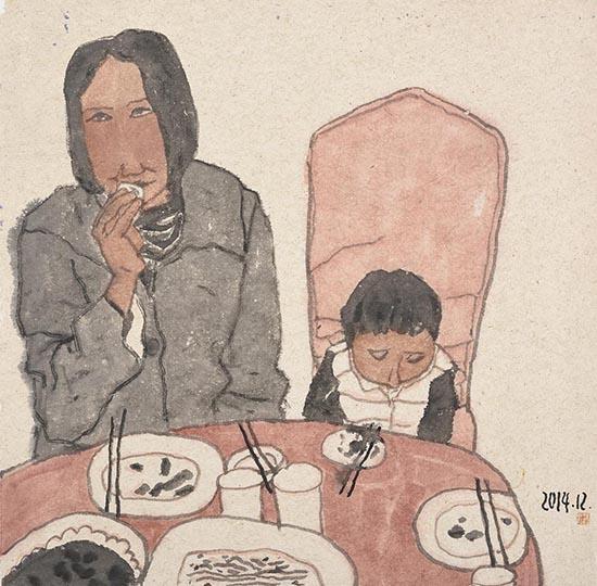《家宴》纸本水墨100cmx100cm2014.jpg