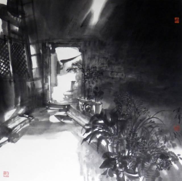 老院子的光线 69x69cm 创作于2016年参加美在生活——全国写生艺术展.jpg