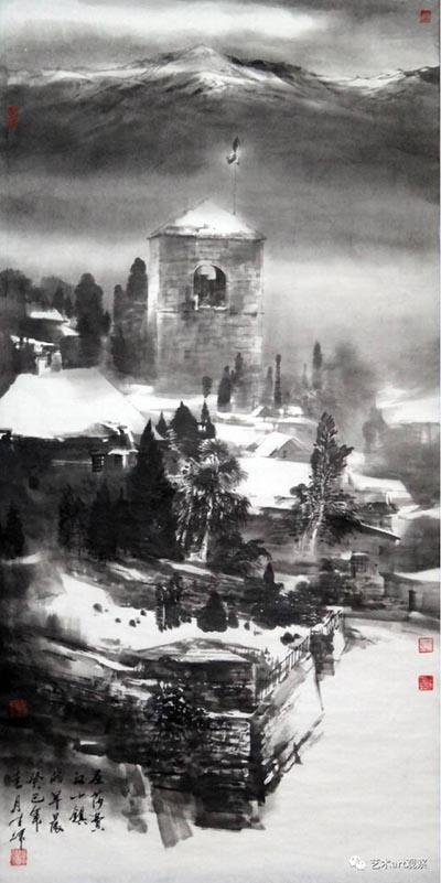 《圣-莎菲汉小镇的早晨》 140cmx70cm   (中国美术世界行参展作品).jpg