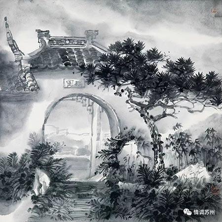 旷小津 耦园写生(一) 50cmx50cm.jpg