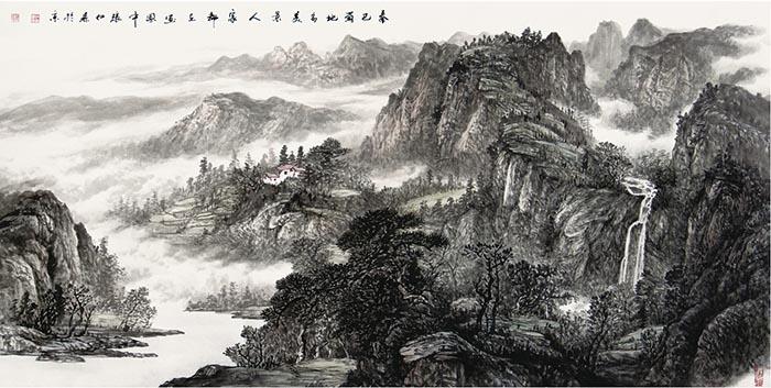 秦巴蜀地多美景 人家都在画图中180x96cm.jpg