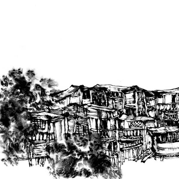 房子素描画法步骤图片