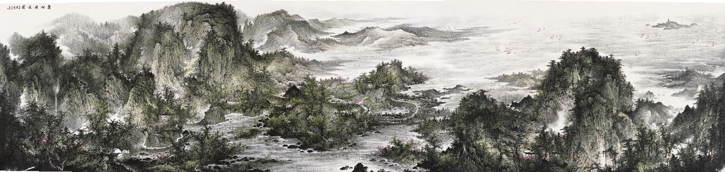 周逢俊作品巢湖胜景图