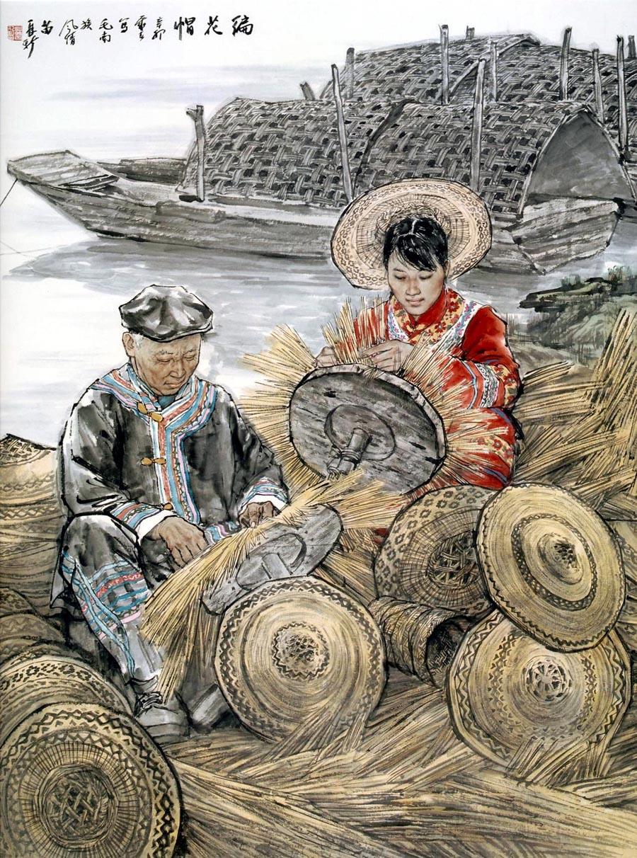 苗再新作品编花帽―毛南族