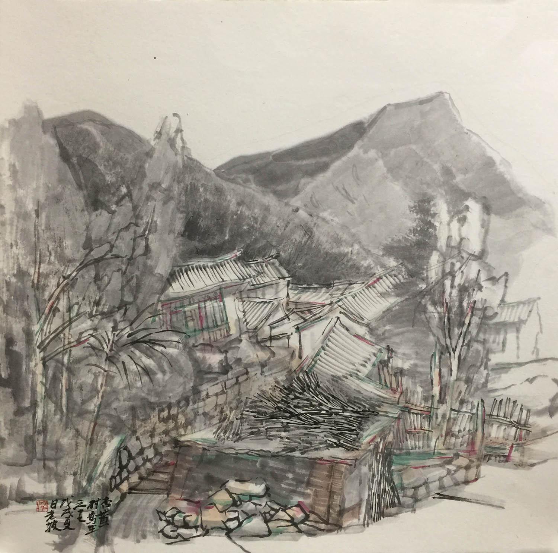 韩敬伟作品杏黄村写生2