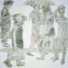 杨柳作品女人街上的太阳伞