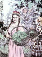 苗再新作品吐鲁番的葡萄熟了―维吾尔族