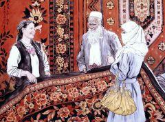 苗再新作品挑花毯―乌孜别克族