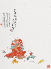 杜老三作品坐饮香茶爱此山