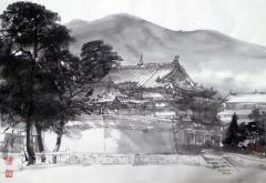 陈辉作品寺庙一角