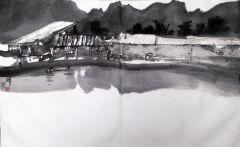 陈辉作品农户的鱼池