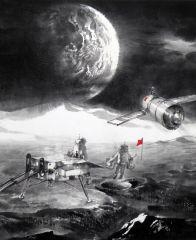 陈辉作品局部二《嫦娥探月》