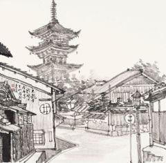 周逢俊作品日本天龙寺写生